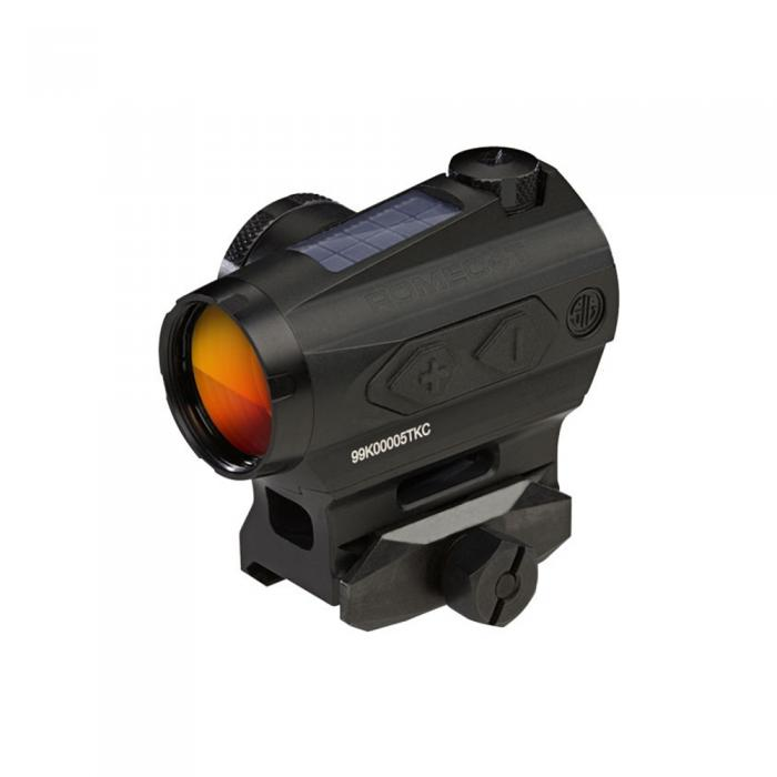 ROMEO4T RED DOT SIGHT, BALLISTIC CIRCLE DOT, SOLAR, 0.5 MOA ADJ, SIDE BATTERY, HEX BOLT MOUNT, SPACER, BLACK[SIG SAUER], SOR43031